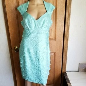 London Style Dresses - London Style Mint green Empire waist Ruffles midi